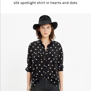 Madewell Tops - Madewell Silk Spotlight in Hearts and Dots